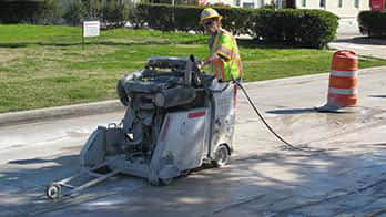 Concrete slab sawing (or flat sawing) is a quick and efficient method to cutting horizontal surfaces like concrete slabs, floors and pavement or asphalt. Slab sawing is quicker that jack hammering making it more versatile, practical, quieter, and cost efficient and saws are typically powered by diesel, gas, electric, or hydraulic engines.